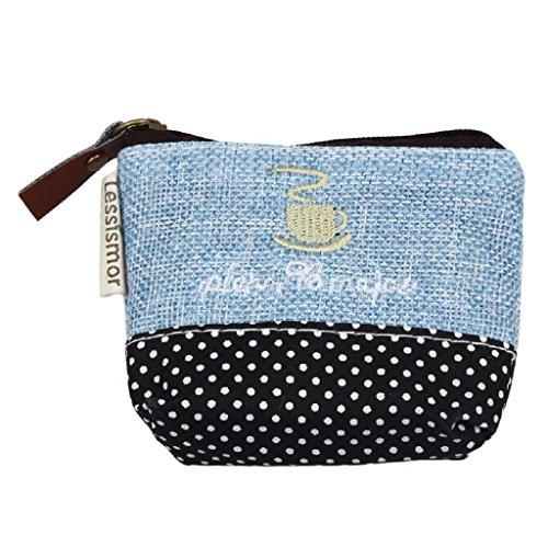 Covermason Mädchen Geldbeutel Kleine Leinwand Geldbörse Zip Wallet Münzfach Tasche Handtasche Schlüsselhalter (Blau)