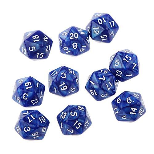 10 Stück Zwanzig Seitig D20 Würfel Multi-seitig Würfel Spielwürfel Würfel - Blau, 25mm