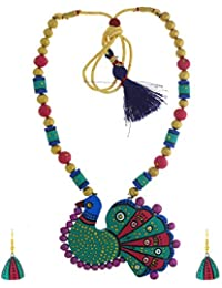 Anuradha Art Multi Colour Peacock Styled Adorable Handcrafted Terracotta Necklace Set For Women/Girls