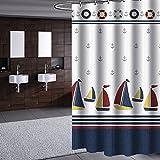 Zhen GUO Bagno Blue Sea e colorato Tenda da Doccia per Barche a Vela, in Poliestere spessorato, Impermeabile e Anti-Muffa con Ganci Bianchi (Dimensioni : 300 * 200cm)