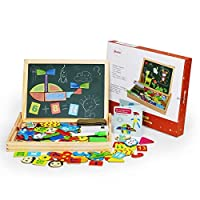 Becko Magnetic Jigsaw Puzzle Board Wooden Toys Multifunctional Travel Drawing Board Double Sided with Erase and Black Board, Animal and Plant Puzzle