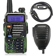 Baofeng UV-5R Plus/UV5R +, serie Qualette, VHF/UHF 136–174/400, 520MHz, 2m/70cm Ham–Walkie Talkie Ricetrasmittente con cavo di programmazione Usb e altoparlante, versione attuale 2013, colore: