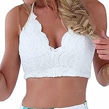Minetom Mujer Chicas Moda Correa Tops Verano Camisa Cordón Tejer Ropa De Playa
