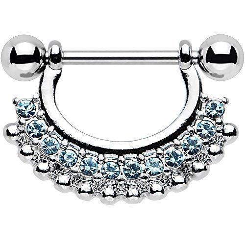 Corpo: in acciaio INOX, colore: azzurro e ciondolo Accent Glitz Glam-Piercing per capezzolo 14 Gauge (16 40,64 cm/9