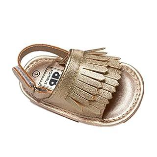 Auxma Baby Mädchen Kleinkind Sommer Quaste Binden Schuhe Soft-Soled Prinzessin Firstwalker Leder Sandalen (6-12 M, Gold)