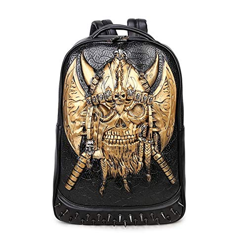 3D Skull Devil Rivet Leather Steampunk Rucksack Studded Casual Travel Laptop-Tasche Glowing Rucksack,Gold