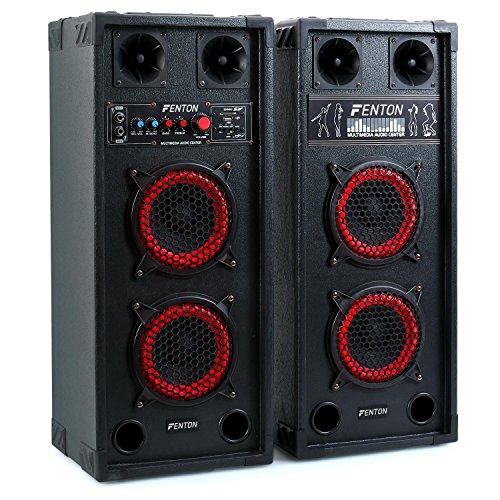 Skytec spb-26 set set coppia casse attive amplificate attiva / passiva (600 watt totali, 2 x subwoofer da 15 cm, usb sd mp3, bass reflex, 2 x mic in)