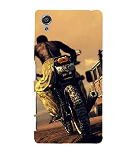 Bike Racing 3D Hard Polycarbonate Designer Back Case Cover for Sony Xperia X :: Sony Xperia X Dual