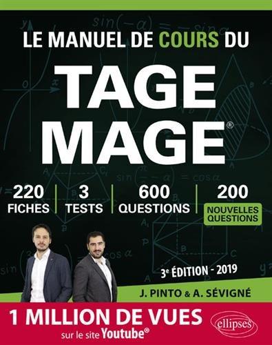 Le Manuel de Cours du TAGE MAGE - édition 2019 par Joachim Pinto
