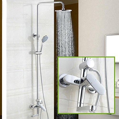 Preisvergleich Produktbild by-wall montiert Dusche Sets, Kupfer Kalten Hot Water Bad/Dusche Mixer Druck Kopf, Wand montiert quadratisch Dusche, moderne Zuhause