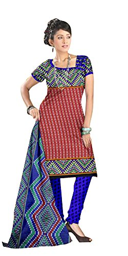 SD Fabrics Women's Cotton Hand Printed Salwar Kameez Dress Material (Multi-Color)
