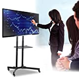 """Yaheetech 32""""-65"""" Universal TV Carts Stand with Wheels Mobile TV Trolley Floor Stand with Mount for LED/LCD/Plasma Flat Screen,Height Adjustable"""