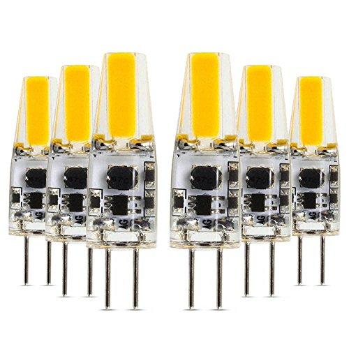 D Birne 12V Lampe 2W COB Birnen SMD LEDs Bi-Pin Ersatz 210LM Wechselstrom DC 12V 3000K Warmweiß, 360 Grad Abstrahlwinkel Wasserdicht Packung mit 6 Licht ()
