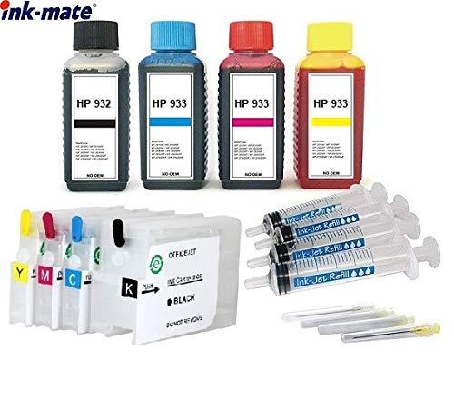 Wiederbefüllbare Patronen HP 932 + 933 mit Auto Reset Chips + 400 ml Ink-Mate Tinten für HP OfficeJet 6100 e-Printer, 6600 e-All-in-One, 6700 Premium, 7110, 7510, 7610, 7612 wide format -