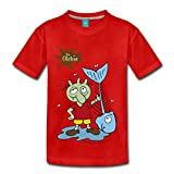 Spreadshirt Die Olchis - Fisch Kinder Premium T-Shirt, 122/128 (6 Jahre), Rot