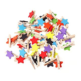LANDUM 50 Pieces Colored Star Mini Wooden Craft Clips Card Photo Paper Peg Pin Clothespin