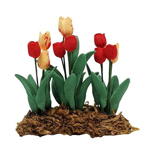 rycnet 1/12 Miniatur-Tulpenpflanze Bonsai Puppenhaus Garten Zubehör Spielzeug Geschenk