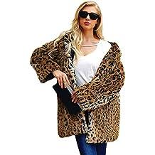 Abrigos Capa Estampado Leopardo De Piel Sintética con Capucha Parka Abrigo Cálido Invierno Chaqueta con Sombrero