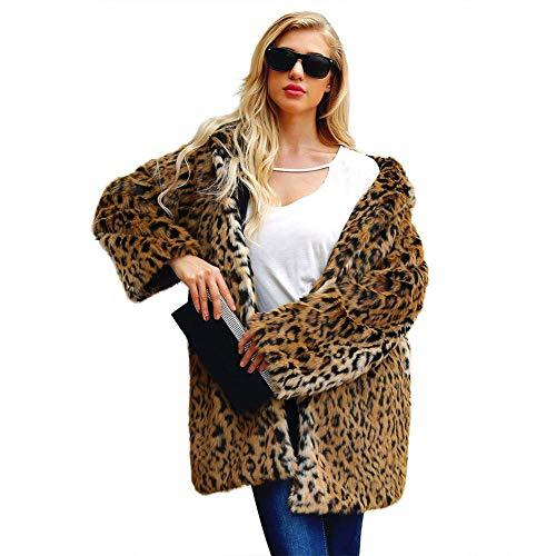 Biback Mujer Invierno Abrigo Piel Sintética, Chaqueta Mujeres Estampado Leopardo Abrigo de...