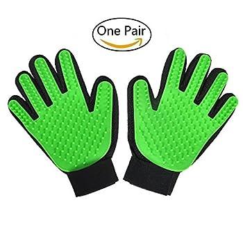 Freefa gants de toilettage, démêlage, bain, massage, peignage, pour poils longs et courts pour chiens, chats, lapins, chevaux. Lot de 2 gants (gauche et droite), vert