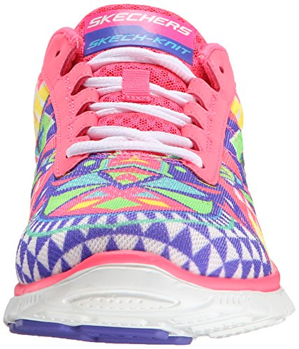 Skechers Flex Appeal Floral Bloom, Low-Top Sneaker donna Hot Pink Rainbow