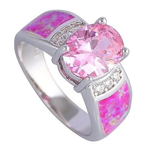 Fashion wedding rings Pink Morganite Pink Fire Opal 925 Sterling