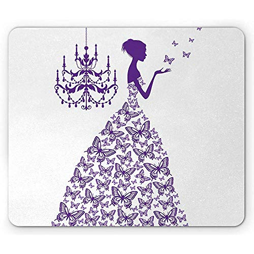 Love Mouse Pad, Romantic Fairtytale Lady Butterflies