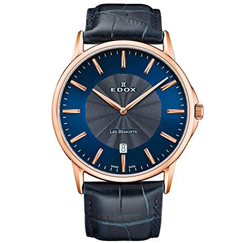 Edox Men's Les Bemonts Ultra Slim 40mm Blue Quartz Analog Watch 56001 37R BUIR