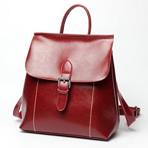 ZPFME Womens Taschen Rindsleder Damen Rucksack Multifunktions- Mode Trendige Handtaschen Umhängetasche Mädchen Party Retro Damen Red