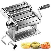 azorex Máquina para Hacer Pasta Fresca Manual de Acero Inoxidable con Manivela 9 Cortes Ajustes Fácil Manejo para Casa Cocina Fideos Masa Tagliatelle