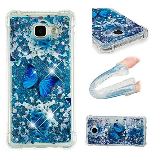 Samsung Galaxy A5 2016/Samsung Galaxy A510 Hülle, Laixin Durchsichtig Handyhülle Glitter Flüssig Bewegende Fließend Flüssigkeit Silikon Weich TPU Bumper Schutzhülle Case Cover-Schmetterling