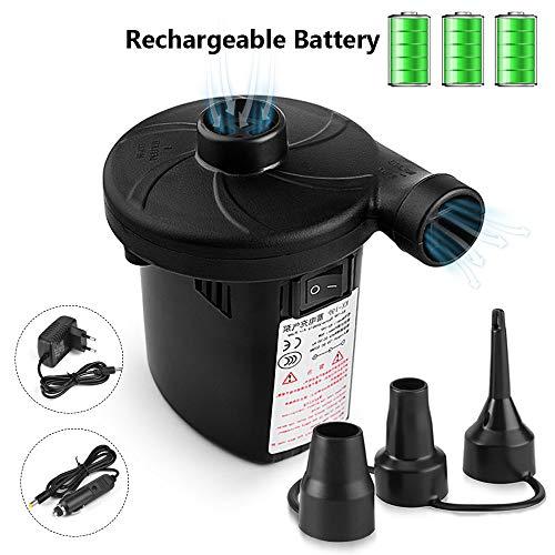 Urslif Bomba Eléctrica Bomba de Aire Inflador/Deflactor Batería Incorporada Eléctrica 1500mAh con 3 Boquillas para Colchón/Piscina Inflable