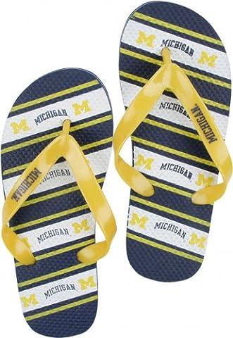 Michigan Wolverines NCAA Unisex Thematic Striped Flip Flops