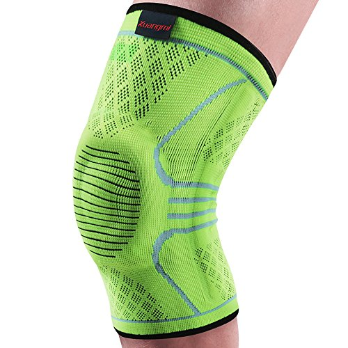 Kuangmi Knie Sleeve Unterstutzung Kompression Klammer Anti Slip Schmerzlinderung fur Sport Arthritis Patella Gelenkverletzung Recovery 1 stuck,Upgraded Green L