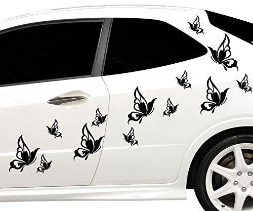 30x teiliges Set Auto Aufkleber Schmetterlinge Hibiskus Blumen Hawaii Sterne Seitenaufkleber Heckscheibe 2C127, Farbe:Schwarz Matt;Ausrichtung:gespiegelt