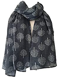 Blue Scarf with a White Mulberry Tree Style Print Ladies Trees Wrap Denim Blue Colour Shawl