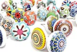 10 x Keramikknöpfe Keramik Türgriffe mischen Vintage-Look floralen Design Griffe für Türen Schränke und Schubladen