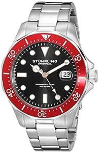 Stuhrling Homme 42mm Argent Acier Bracelet & Boitier Date Montre 824.05