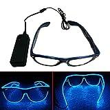 Teepao Glow Eye Glasses de Moda con Control de la Voz Ilumina El Wire Neon Rave Glasses Glow Flashing Gafas de Sol LED Disfraces para Fiesta, EDM, Halloween