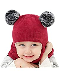49238d520cf CATSAP Kid Baby Boy Girl Hat scarf Winter Warm Knit Flap Cap Scarf for Fall  Winter