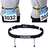 AONIJIE Unisex Marathon Running Race Number Belt With Holder Belt (Black)