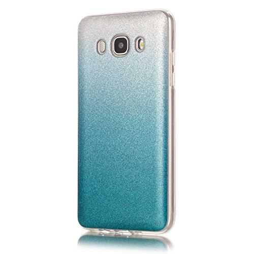 Samsung Galaxy J5 2016 Hülle,Samsung Galaxy J5 2016 Schutzhülle,Alfort Kreative TPU Silikonhülle Farbverlauf Flash-Pulver Schutzhülle Weich Cover Schutzhülle Cover Protector von Scratch,Abstößt,Staub für Samsung Galaxy J5 2016 (Himmelblau)