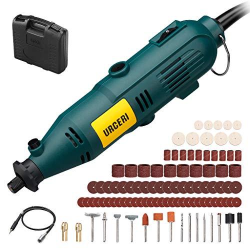 Mini amoladora eléctrica URCERI, herramienta rotativa 135w, 35,000rpm con 100 accesorios, con eje flexible, 6 velocidades ajustables, múltiplefunciones para cortar, pulir, lijar, etc.