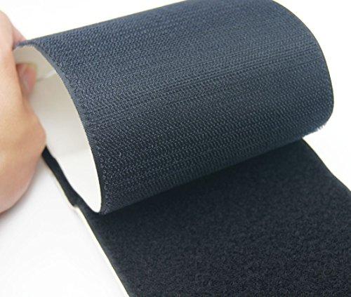 Schwarz Haken- und-Loop Tape Pads ~ 110mm extra breit ~ Stick auf ~ großen Quadraten Blatt, 300mm Loop Only
