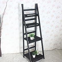Acecoree Lagerregal Steckregal Standregal Bücherregal Leiterregal Mit 4  Ablageflächen Kunststoffregal Aus Holz Und Metall Im Wohnzimmer