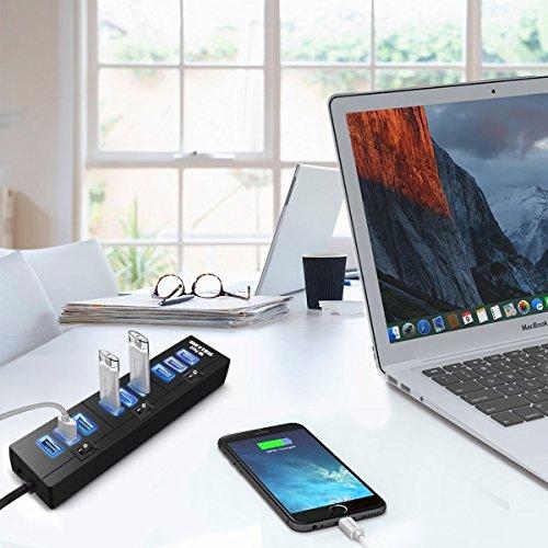 Alta Velocidad USB Switch Concentrador De Datos 3.0 10 Adaptador De Puerto Concentrador De Potencia De Transmisi/ón 5Gbps Datos Adaptador Energ/ía De AC para Win7//8//10 ELEGIANT 10 Puertos USB 3.0 Hub