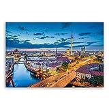 ge Bildet® hochwertiges Leinwandbild XXL - Berlin Skyline - Deutschland - 120 x 80 cm einteilig 2211 A