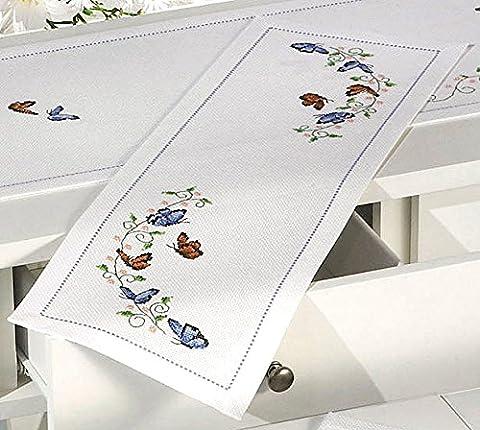Chemin de Table Motif Papillons Taille S Kit de broderie
