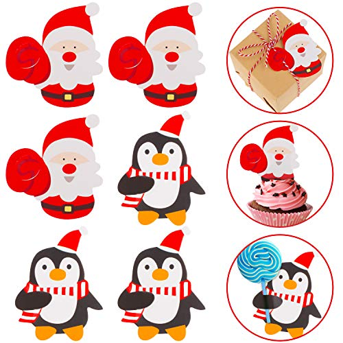 Whaline 100 Pcs Christmas Lollipop Cards Santa Claus Sugar-Loaf Candy Holder Chocolate Paper Card Xmas Package Party Birthday Wedding Decor(Not included Lollipop)