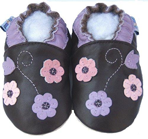 Lederhausschuhe-chaussures jinwood 3–fleurs/violet/marron-baby-chaussures en cuir Marron - Marron